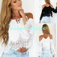 Sexy Women's Lady Off Shoulder Casual Tops Blouse Lace Crochet Chiffon Shirt HOT