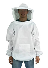 Professional White Medium Large Bee Keeping Suit Jacket Pull Over Smock w/ Veil