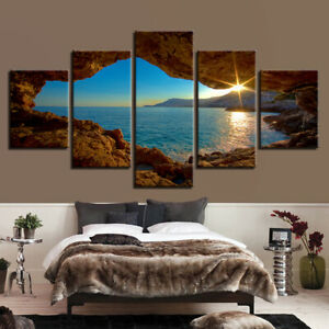 Cave Sunset Ocean Scenery 5 piece Poster Art Wall Home Decor Canvas Print