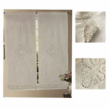 Coppia tendine intaglio bianco ricamate balza finestra balcone Kira