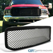 99-04 Ford F250 F350 Super Duty 1PC Mesh Glossy Black Front Hood Grille Grill