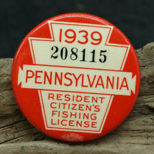 Vintage 1939 PA Pennsylvania Resident Fishing License Button Pin Back (J3)