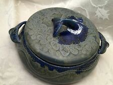 Wylie Whale Tail Casserole Dish Lid Bowl Vintage Handmade Signed Art Pottery