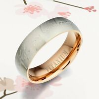 Men Women Personal Engrave Rose Gold Titanium Wedding Ring 5mm Sz G to W 088