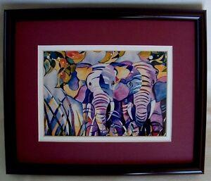 ELEPHANTS Framed PRINT Suzi Dennis JUNGLE AFRICA Burgundy Frame Mat 9x11 Finishd