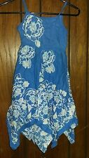Girls dress Size 7 Dress for back to school blue with flowers church Easter