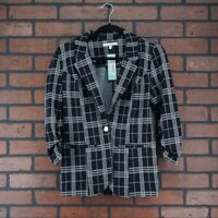 41 HAWTHORN Stitch Fix Dino Knit Blazer Plaid Black White Womens Size Small