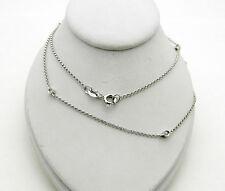 "Beautiful 14k White Gold Bezel Set Diamond By The Yard Necklace Chain 18"" long"