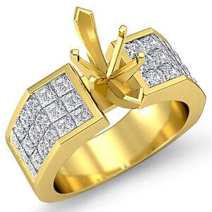 1.75 Ct Marquise Setting Princess Diamond Engagement Ring 14k Gold Yellow G VS1