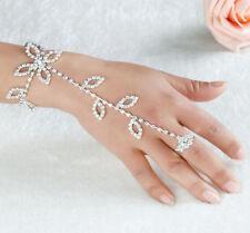 Harness Foot Crystal Rhinestone Slave Bracelet Finger Ring Hand Chain Link Leaf