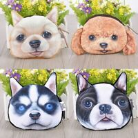 Women Cute New 3D Cute Dogs Face Plush Purse Pouches Animal Coin Purse Wallets