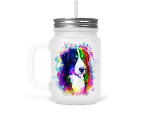Henkelglas Trinkglas Glas mit Strohhalm Deckel Berner Sennenhund Hunde Spruch