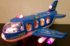 LARGE HUGE AIRPLANE BUMP AND GO TOY LED LIGHTS MUSIC GIRLS BOYS TOYS RED  BLUE