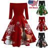 US Christmas Women Off Shoulder Print Vintage Evening Party Dress Flare Dresses