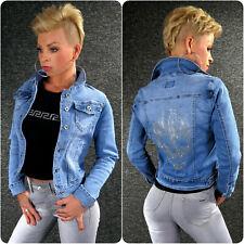 Jeansjacke Glitzer Totenkopf XS S M L XL ZAZOU Damen Jeans Sommer Jacke M1539