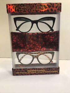 BETSEY JOHNSON 2 PREMIUM READING GLASSES READERS & CASE Cat Eye +2.00