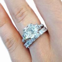 Princess Cut Diamond Bridal Ring Set GIA Certified 18k white Gold 5.50 Carat