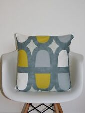 "CUSHION COVERS 16"" PRESTIGIOUS ""DOCKLANDS"" SAFFRON MUSTARD GREY GEOMETRIC YELLOW"