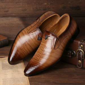 Mens Formal Party Slip On Faux Leather Shoe Smart Office Wedding Work Shoes Size