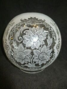 SUPERB VICTORIAN ANTIQUE  ACID ETCHED DUPLEX OIL LAMP SHADE