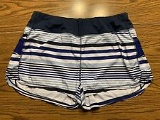 Athleta Active Short With Liner Size XL Blue/White Stripe s/438935-00