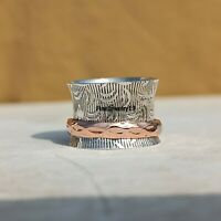 925 Sterling Silver Spinner Ring Wide Band Meditation Statement Jewelry A365