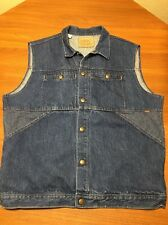Levis Jean Jacket Denim Vest Size Mens L Blue Sleeveless Snap Leather Tag Rare!