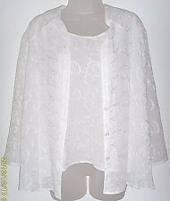 Women's Large white 2 in one look 3/4 sleeve top (Apparenza)
