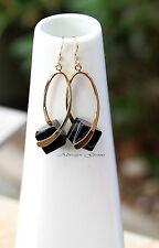 Stunning Black Agate gemstone cube Earrings 14k gold filled ear hooks Handmade