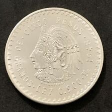 1 Uncirculated 1948 Mexico Silver Coins Cinco Pesos Cuauhtemoc