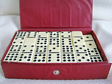 Dominoes By Cardinal, Vintage White 54 Pc. Set in Original Case & Instructions