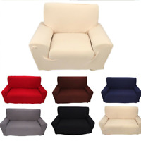 1-4Seater Stretch Slipcover Chair Sofa Couch Solid Elastic Cover+1PCS Pillowcase