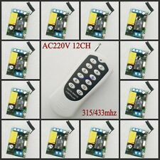 220V 12CH Wireless Remote Control Switch System Light/Lamp LED SMD Access Remote