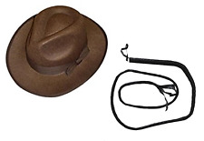 Indiana Jones Brown Explorer Hat & Black BULL Whip Fancy Dress Costume Accessory