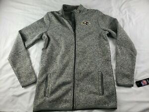 Baltimore Ravens Lima Fleece Jacket NFL Gray Zip Up New $75 Youth XL