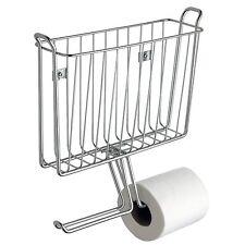 2 Tissue Paper Magazine Holder Rack Home Office Toilet Bathroom Wallmount Chrome