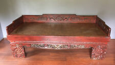 Indoor antique chinese daybed - red, carved, excellent condition