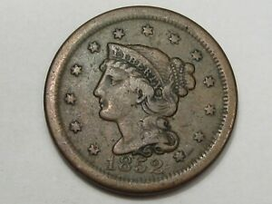 1852 US Braided Hair Large Cent Coin. #133
