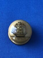 Very Tiny Wooden Wood Treen Pill Box Tall Sailing Ship Design Pull Off Lid