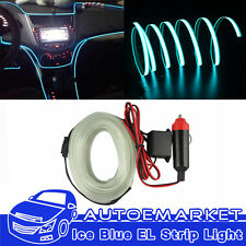 ICE Blue Car 2m Flexible Moulding EL Lamp Neon Glow Lighting Rope Strip  With Fin (