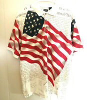 Cotton Traders Sport Polo Declaration of Independence Flag Shirt Mens Size L 4th