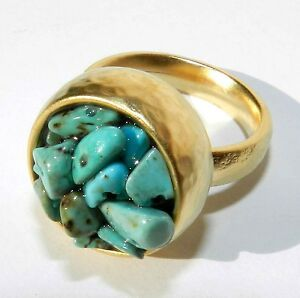 Unique Hammered Yellow Gold Ring Set With Turquoise Stones Size 8  ..