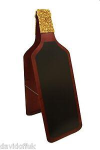 WOODEN A BOARD PAVEMENT SIGN BLACKBOARD BOTTLE SHAPE FOR RESTAURANT PUB WINE BO