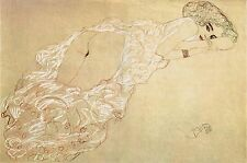 Gustav Klimt Drawings: Partially Draped Nude Lying on Stomach - Fine Art Print