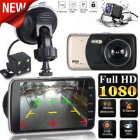 4'' 1080P LCD IPS Dual Lens Car Dash Cam FHD GPS Dashboard Camera Driving DVR