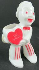 VINTAGE ROSEN ROSBRO PLASTIC VALENTINE MAN WITH HEART CANDY CONTAINER