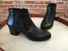 Geox Black Nappa Leather Annya Mid Block Heel Ankle Boot 8 38 NEW