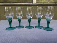 Kelly Green Stem Crystal Wine Cordial Sherry Goblets Glasses 5 1/8 4oz Set of 4