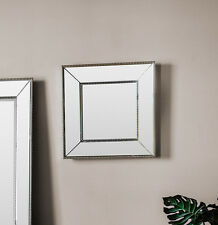 "Radley Bevelled Glass Beaded Frame Overmantle Square Silver Wall Mirror 19""x19"""