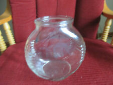 """Small Vintage Glass Fish Bowl with Ribbed Sides 5 15/16"""" t x 6"""" w x 3 1/2""""D"""